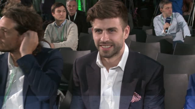 gerard pique attends the draw for the davis cup finals - ピケ点の映像素材/bロール