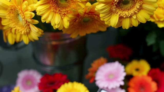 Gerbera flowers at flower stand