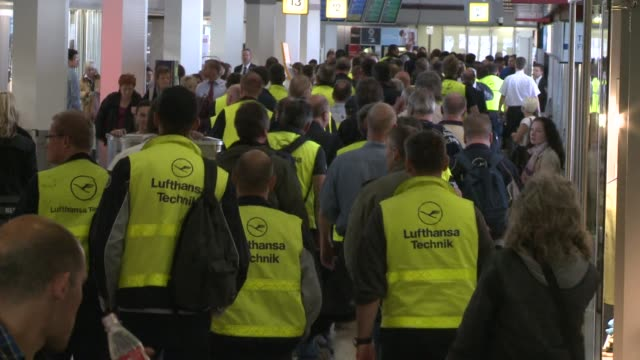 german airline lufthansa cancelled most of its domestic european and long haul flights to and from airports across the country monday as thousands of... - domestic staff stock videos & royalty-free footage