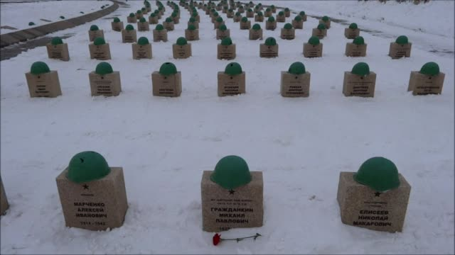 german and russian people visited the war memorial cemetery in the city of volgograd on friday clean germans and russians pay tribute on february 01... - volgograd stock videos & royalty-free footage