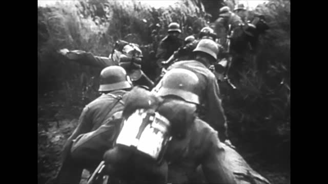 vidéos et rushes de german army breaking through thr ardennes/ german engineer battalions clearing pathways for the tanks/ german tanks advancing and reaching meuse... - armement