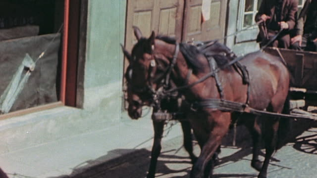 stockvideo's en b-roll-footage met german army soldiers and civilians driving horsedrawn wagons and civilians with handcarts and wheelbarrows loaded with belongings marching through... - vluchteling ontheemden