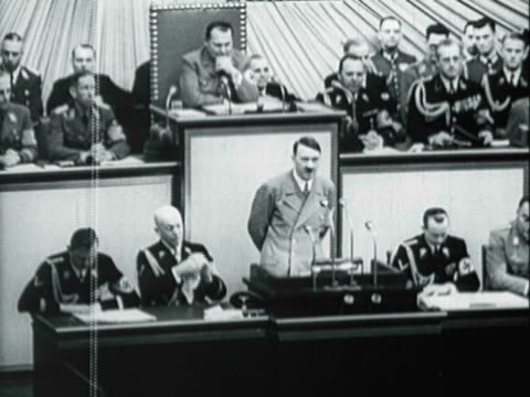 german chancellor adolf hitler speaking to the reichstag in berlin - adolf hitler stock-videos und b-roll-filmmaterial