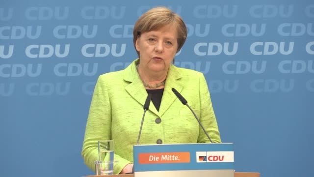 german chancellor and the leader of the christian democratic union angela merkel delivers a speech during a joint press conference with... - minister president stock videos and b-roll footage