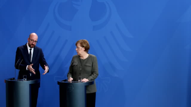 German Chancellor Angela Merkel and Belgian Prime Minister Charles Michel speak to the media following talks and are answering the questions of the...