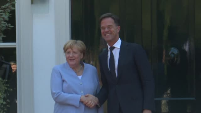 german chancellor angela merkel and dutch prime minister mark rutte meet during an intergovernmental meeting in the hague with climate on the agenda - chancellor of germany stock videos & royalty-free footage