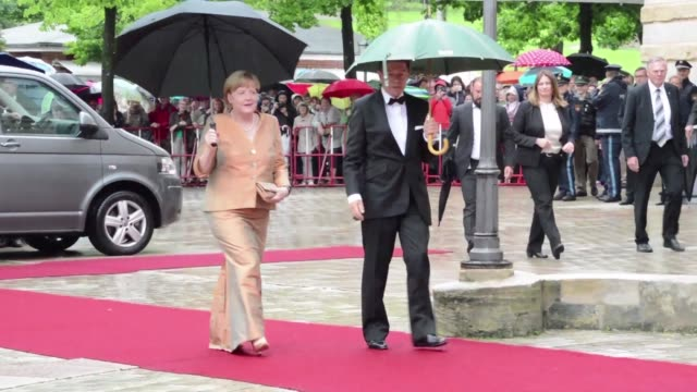 German Chancellor Angela Merkel and her husband Joachim Sauer arrive at the opening of the Bayreuth Festival 2017 in Bayreuth Germany
