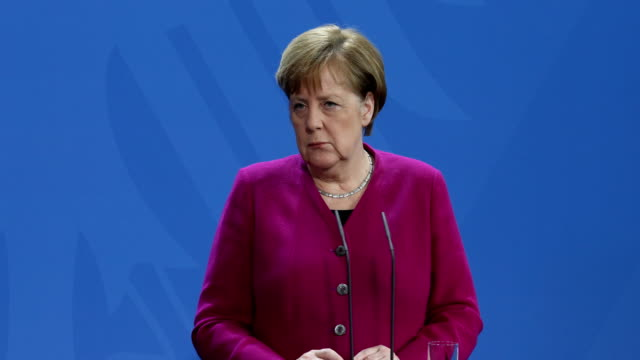 german chancellor angela merkel and latvian prime minister krišjānis kariņš speak to the media following talks at the chancellery on march 11 2019 in... - angela merkel stock videos & royalty-free footage