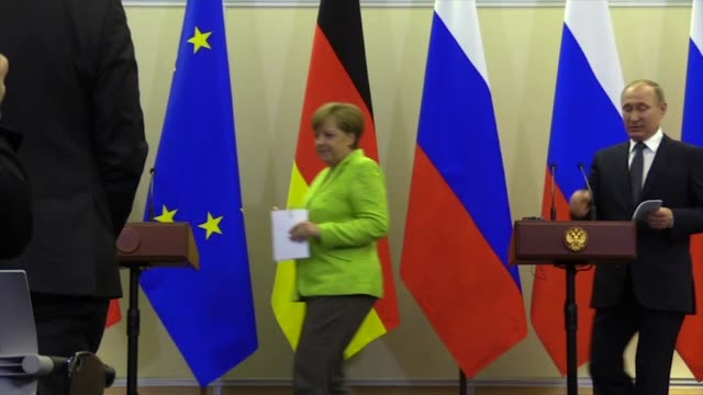 German Chancellor Angela Merkel and Russian president Vladimir Putin hold a press conference after their meeting in Sochi Russia on May 2 2017