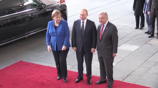 german chancellor angela merkel and un secretary general antonio guterres welcome turkish president recep tayyip erdogan russian president vladimir... - chairperson stock videos and b-roll footage