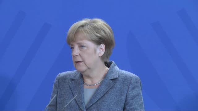 German Chancellor Angela Merkel and Vice Chancellor of Germany Sigmar Gabriel hold a joint press conference on refugee crisis in Berlin Germany on...