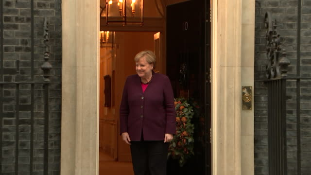 german chancellor angela merkel arrives for talks at 10 downing street during nato summit - chancellor of germany stock videos & royalty-free footage