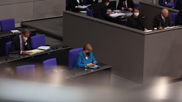 DEU: Merkel Answers Question From Bundestag Parliamentarians