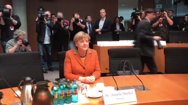 German Chancellor Angela Merkel arrives to testify at the NSA Bundestag Hearing in the Paul Loebe Haus in Berlin Germany on February 16 2017