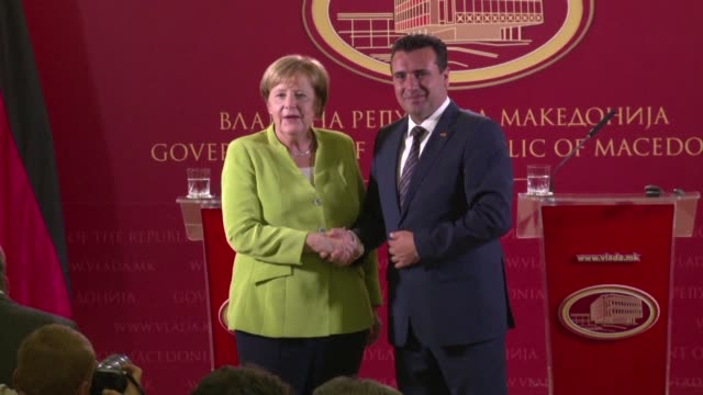 german chancellor angela merkel called on macedonians on saturday to seize a historic opportunity by voting in a referendum at the end of september... - grecia stato video stock e b–roll