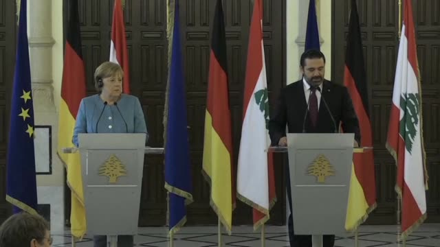 german chancellor angela merkel gives a press conference with lebanese prime minister saad hariri whose office said they discussed the latest... - prime minister video stock e b–roll
