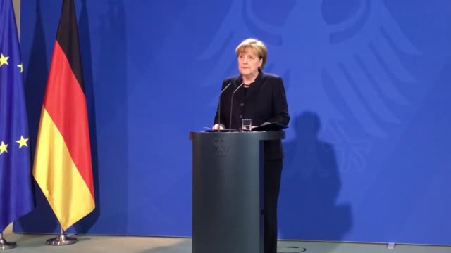 German Chancellor Angela Merkel gives a statement the day after a truck ran into a crowded Christmas market at the federal chancellery in Berlin...