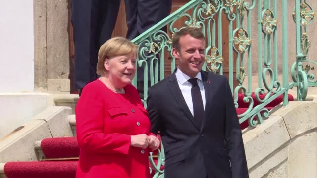 german chancellor angela merkel hosts french president emmanuel macron to hammer out reforms that can stop the disintegration of the european union... - angela merkel stock videos & royalty-free footage