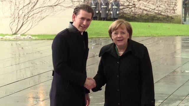 German Chancellor Angela Merkel hosts her Austrian counterpart Sebastian Kurz