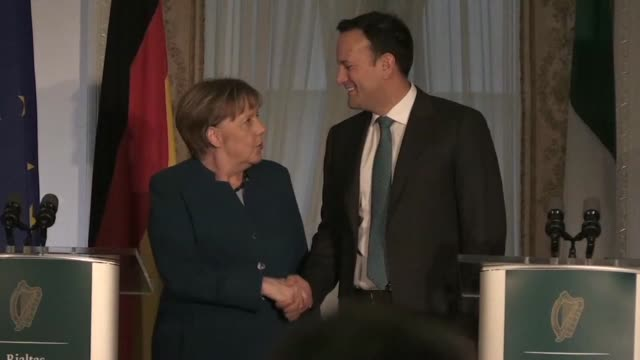 german chancellor angela merkel is on an official visit to dublin to discuss brexit with irish prime minister leo varadkar especially the thorny... - premierminister stock-videos und b-roll-filmmaterial