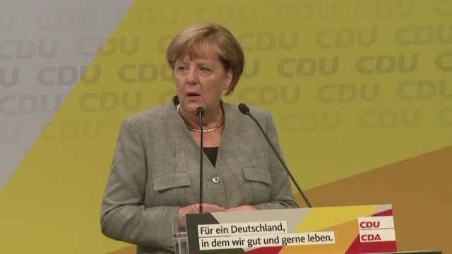 german chancellor angela merkel kicks off a series of rallies across the country with a campaign speech in the western city of dortmund delivering an... - dortmund city stock videos and b-roll footage