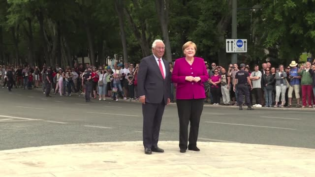 german chancellor angela merkel meets portuguese prime minister antonio costa at the end of her two day visit to the country - prime minister video stock e b–roll
