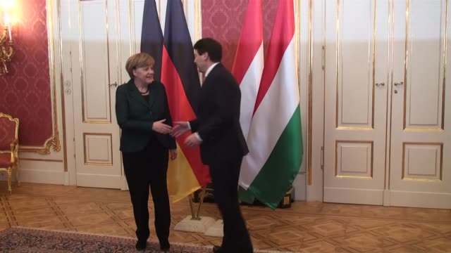 german chancellor angela merkel meets with hungarian president janos ader in budapest hungary 02 february 2015 angela merkel is in hungary on a... - osteuropäische kultur stock-videos und b-roll-filmmaterial