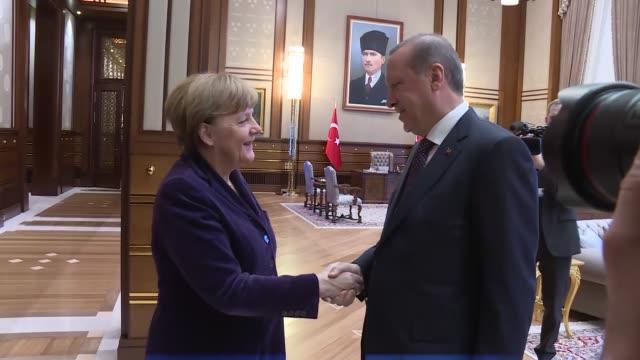German Chancellor Angela Merkel meets with Turkish President Recep Tayyip Erdogan at the Presidential palace in Ankara Turkey on February 08 2016