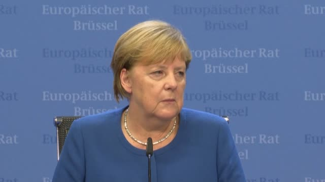 german chancellor angela merkel reacts to the deal struck between the british government and the european commission at the eu summit in brussels - angela merkel stock videos & royalty-free footage