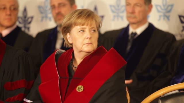 German Chancellor Angela Merkel receives an honorary doctorate at Tel Aviv University Angela Merkel Receives Honorary Doctorate on February 01 2011...