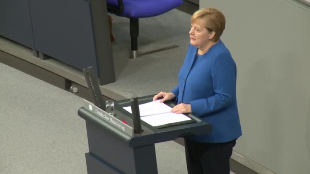 german chancellor angela merkel says that brexit talks with london are heading in a positive direction but stresses that the two sides had yet to... - angela merkel stock videos & royalty-free footage