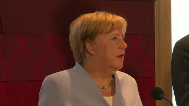 german chancellor angela merkel says that britain could have until the day of its scheduled eu departure to avoid a chaotic no deal brexit clarifying... - chancellor of germany stock videos & royalty-free footage