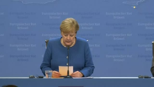 german chancellor angela merkel says the members of the european council welcome what michel barnier and jeanclaude juncker negotiated with boris... - chancellor of germany stock videos & royalty-free footage
