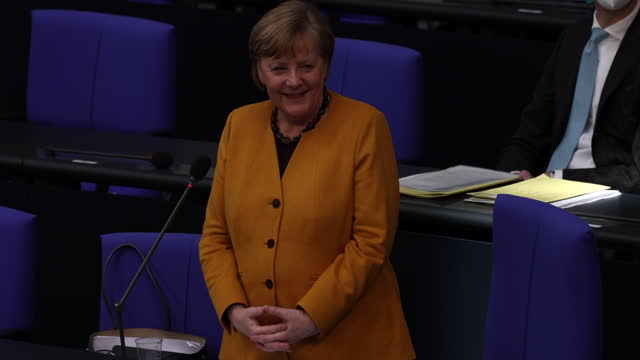 german chancellor angela merkel takes questions from parliamentarians at the bundestag after she announced a reversal of a hard lockdown for easter... - smiling stock videos & royalty-free footage