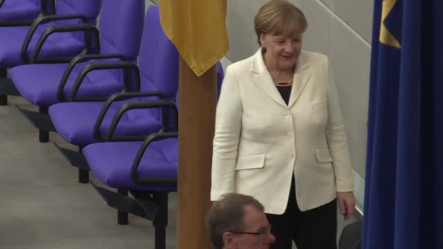 german chancellor angela merkel takes the oath of office in parliament launching her fourth term government in europe's biggest economy - oath stock videos & royalty-free footage