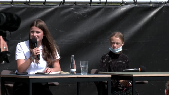 german climate activist luisa neubauer and swedish climate activist greta thunberg attend a press conference following the meeting with german... - climate activist stock videos & royalty-free footage