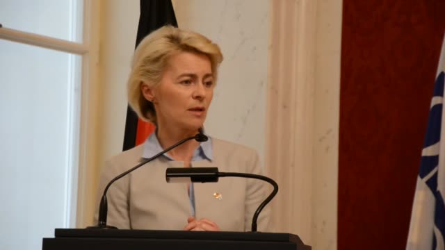 German Defense Minister Ursula von der Leyen holds a joint press conference with the Organization for Security and Cooperation in Europe Secretary...