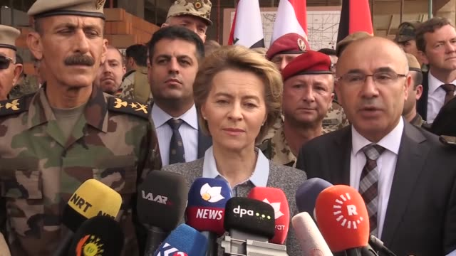 German Defense Minister Ursula von der Leyen visits Kurdish and German soldiers at a military training camp for Peshmerga fighters and attends...