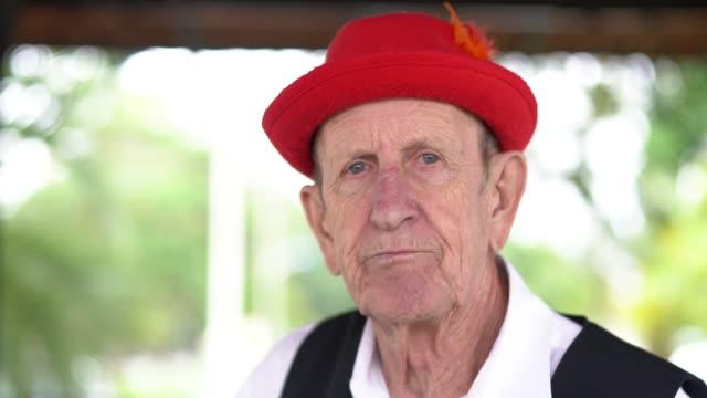 german descent senior man portrait - traditional clothing stock videos & royalty-free footage