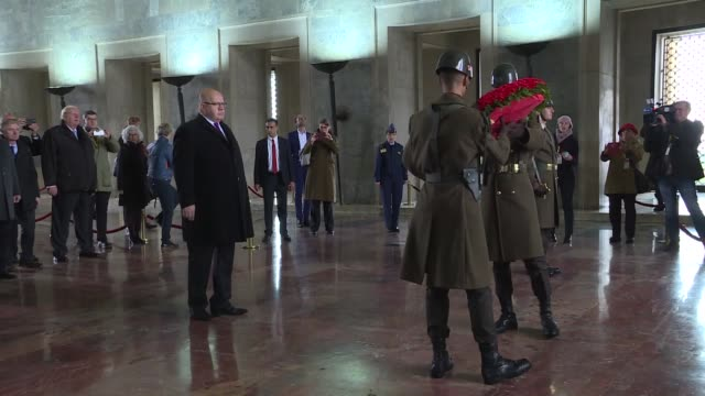german economy and energy minister peter altmaier attends a wreathlaying ceremony at anitkabir the mausoleum of turkish republic's founder mustafa... - mausoleum stock videos and b-roll footage