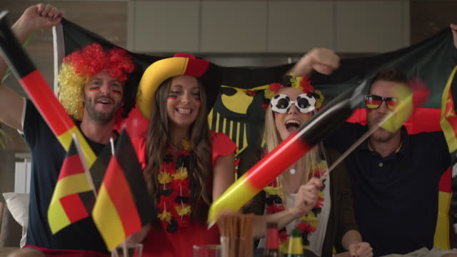 German fans cheering for Germany