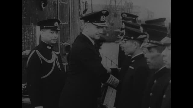 german field marshal erwin rommel getting out of car somewhere in north africa / cu rommel / vs rommel talking to german pilots // german warship... - achsenmächte stock-videos und b-roll-filmmaterial