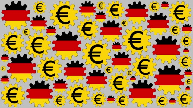 german flag and euro sign gears spinning background - euro symbol stock videos & royalty-free footage