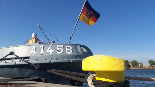 german flag at the fgs fehmarn a1458 the helgoland class salvage tug, employed as safety ship for the german navy submarine training group is seen in... - helgoland stock videos & royalty-free footage