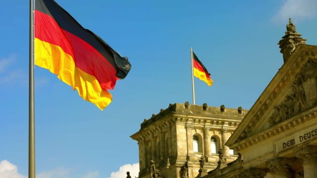 german flag, banner at berlin reichstag building, detail, sunny - chancellor of germany stock videos & royalty-free footage