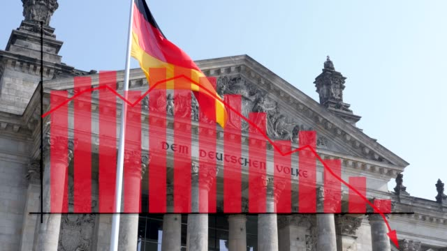 german flag flying in front of reichstag scene in berlin with data graph showing drop in tourism, finance, economic performance caused by the recent covid-19 coronavirus crisis - berlin stock videos & royalty-free footage