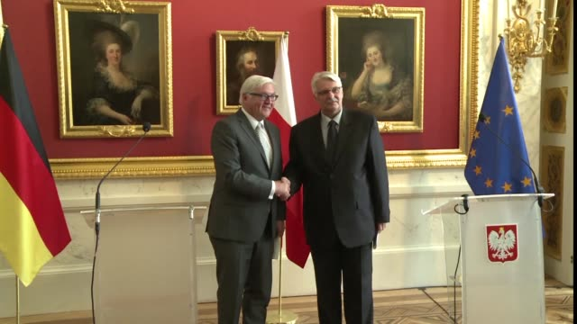 german foreign minister frank walter steinmeier meets with his polish counterpart witold waszczykowski in a bid to shore up relations amid rising... - foreign minister stock videos and b-roll footage