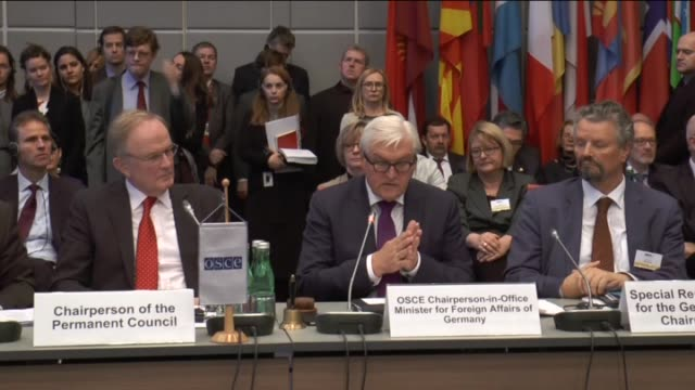 german foreign minister frankwalter steinmeier attends a session of the permanent council of the organization for security and cooperation in europe... - foreign minister stock videos and b-roll footage