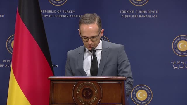 german foreign minister heiko maas delivers a speech during a press conference with his turkish counterpart mevlut cavusoglu in ankara turkey on... - government minister stock videos & royalty-free footage