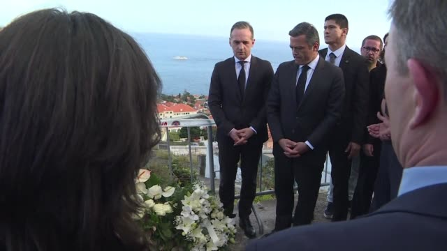 german foreign minister heiko maas visits the scene of a bus accident in madeira that left 29 dead all germans - foreign minister stock videos and b-roll footage